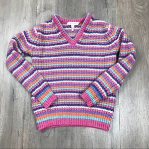 Marc Jacobs Striped Cashmere V Neck Sweater XS